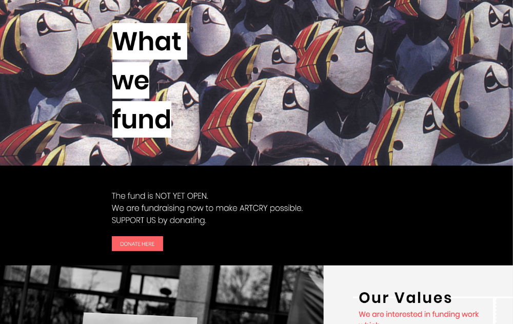 artcry website designed by hooper and kind
